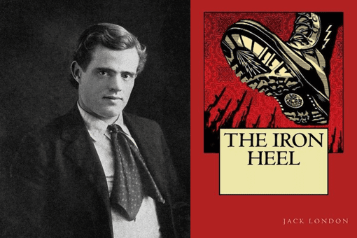 Portrait of Jack London and cover of The Iron Heel