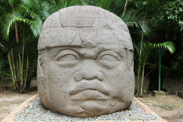 Olmec colossal stone head at La Venta Park, Mexico