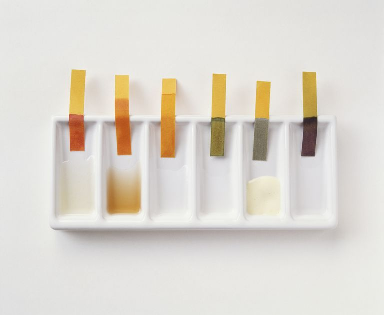 A series of different liquids, being Ph-tested with universal indicator paper
