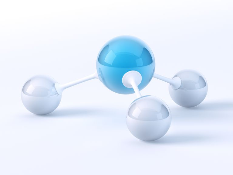 Ammonia molecule ball and stick model