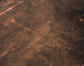 Aerial View of Hummingbird Geoglyph, Nazca Lines