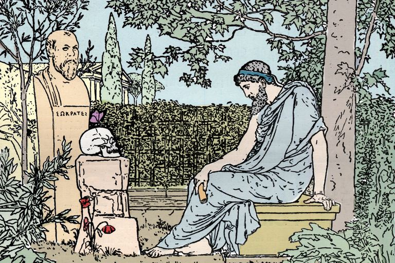 Plato meditating on immortality before the butterfly, skull, poppy, and gravesite of Socrates about 400 BC