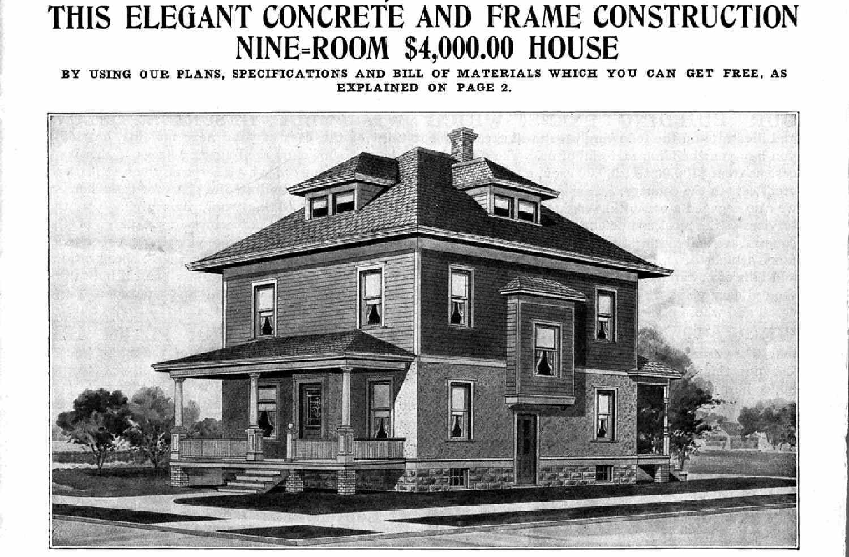 black and white llustration fromcatalog, Thie Elegant Concrete and Frame Construction Nine-Room $4,000.00 House
