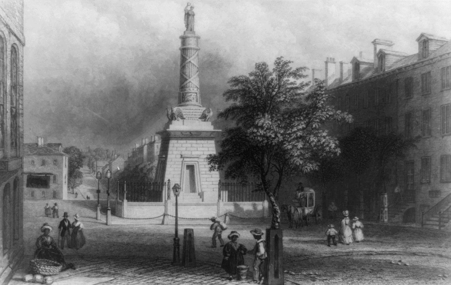 Lithograph of Baltimore's Battle Monument