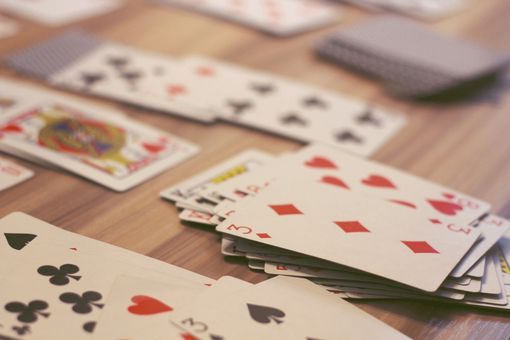 High angle view of cards on a table