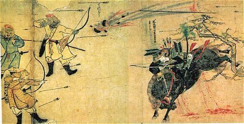 Suenaga Fights Three Mongol Warriors, 1274 Samurai Takezaki Suenaga charges Mongol invaders as shell explodes overhead, 1274.