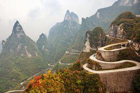Winding road in Tianmen Mountain National Park, Zhangjiajie, China