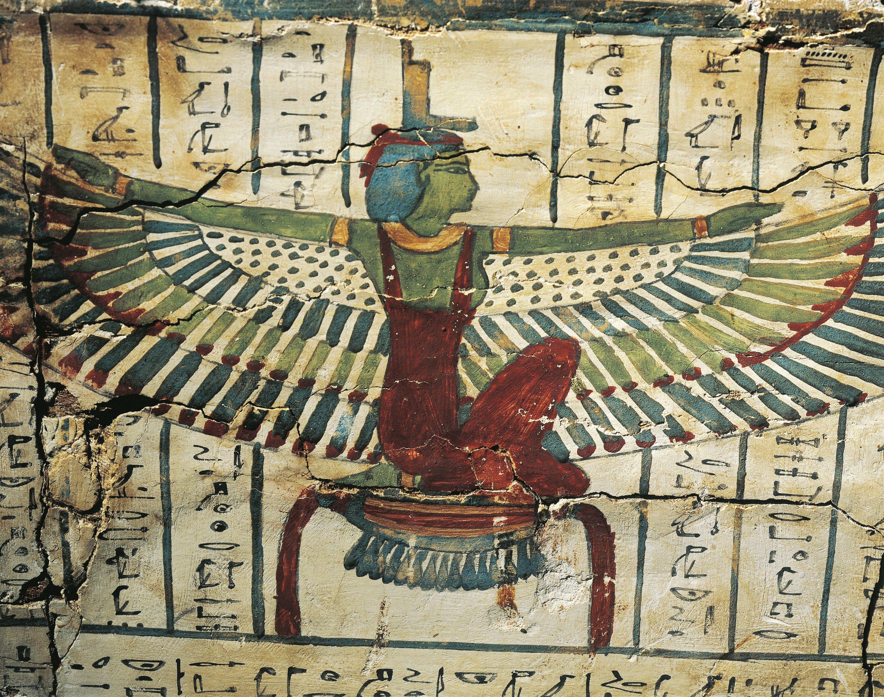 Hieroglyphic painting depicting Goddess Isis.