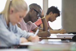 University students taking exam