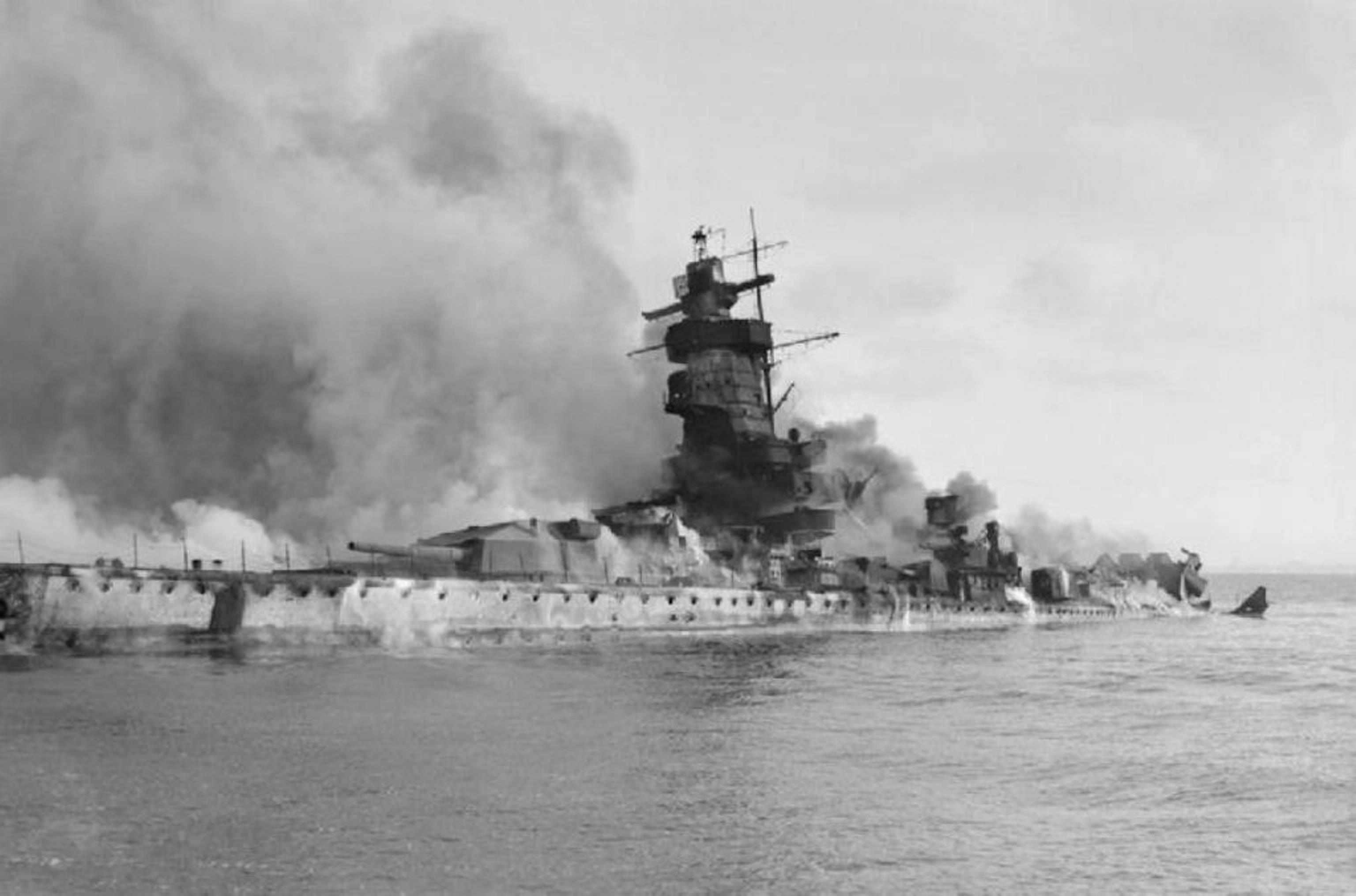 Pocket Battleship Admiral Graf Spee burning and partially submerged in the River Plate