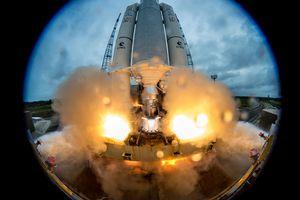 ESA Ariane 5 Flight VA240 lifts off