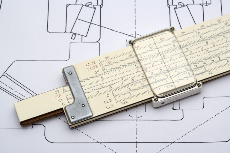 Slide rule on a mechanical drawing