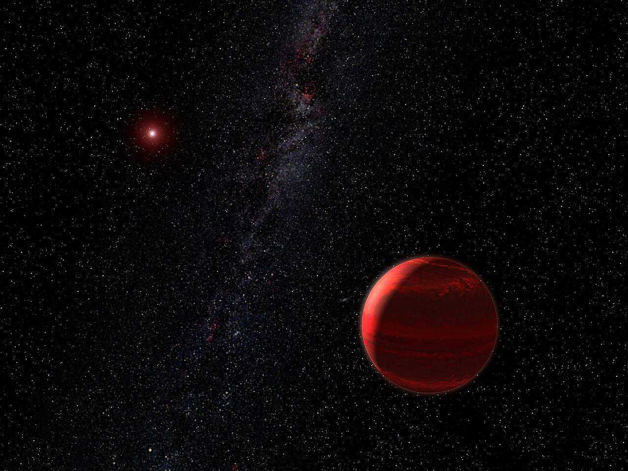 Artist rendering of a red dwarf star in space.