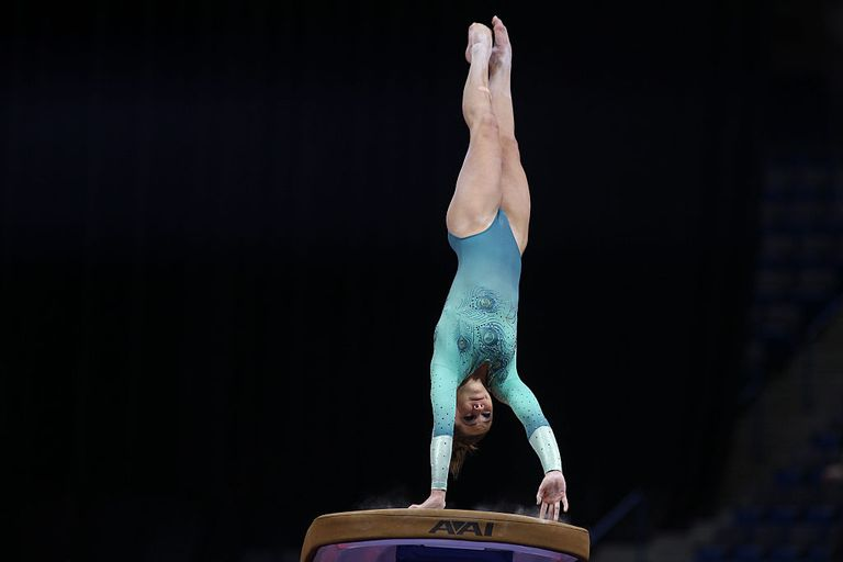 McKayla Maroney performs on the vault during a gymnastics competition
