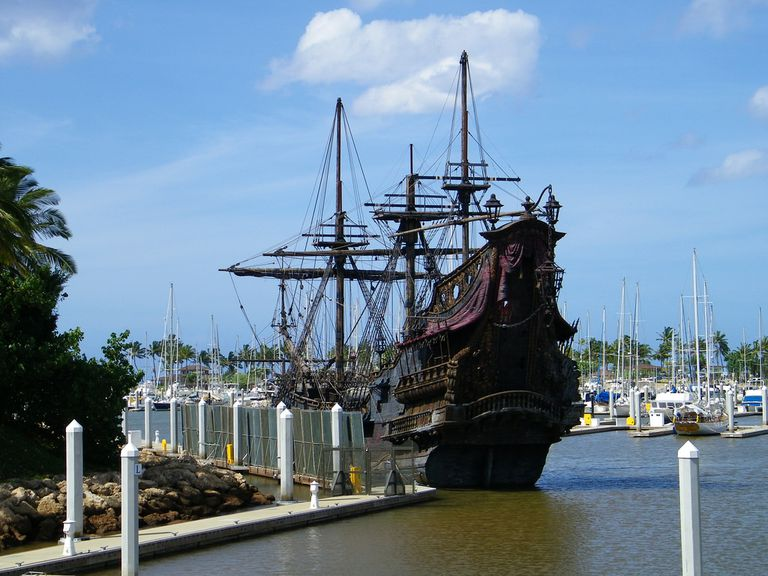 Queen Anne's Revenge replica on docks in Hawaii.