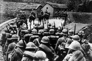 Japanese troops entering Manchuria in the wake of the Mukden Incident during the Sino-Japanese War