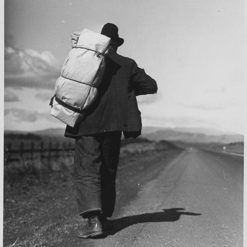 Migrant worker on California highway.