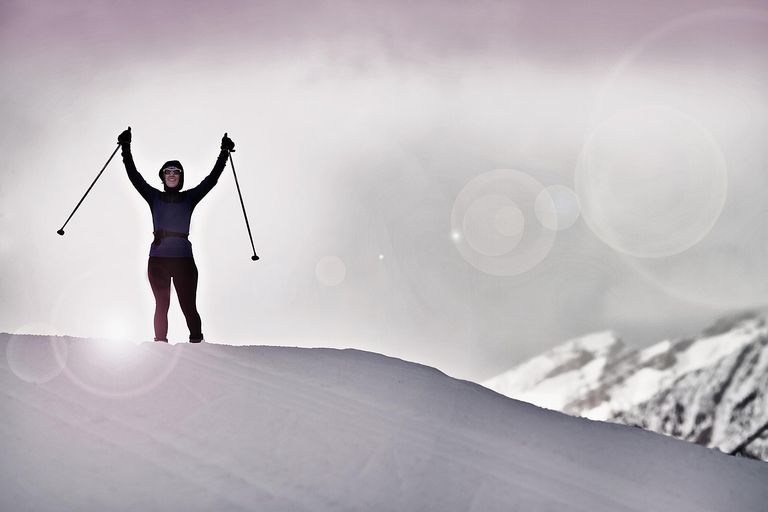Skiing on a hill