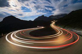 Car lights, Bernina Pass, Switzerland