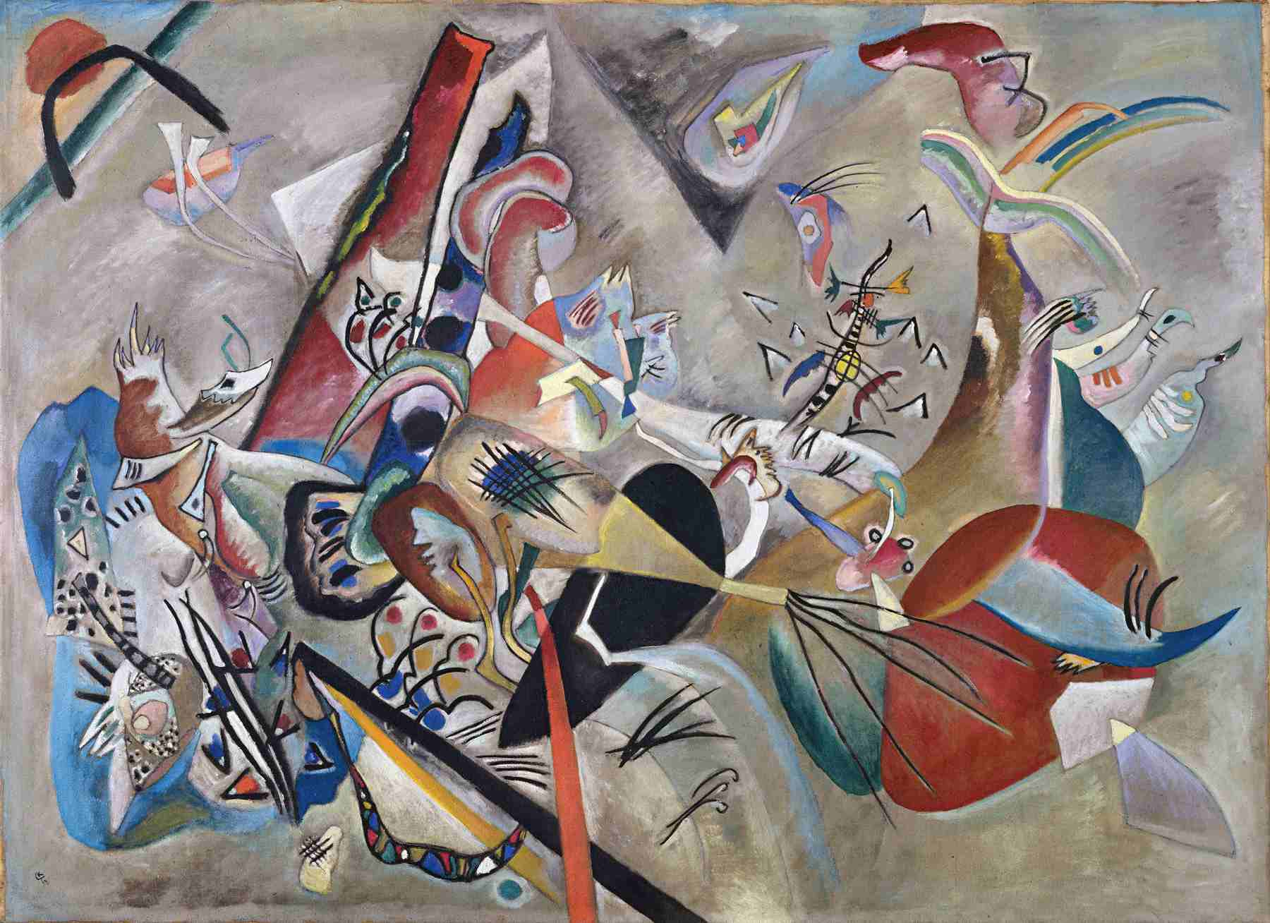 Wassily Kandinsky (Russian, 1866-1944) Wassily Kandinsky (Russian, 1866-1944). In Gray (Im Grau), 1919. Oil on canvas. 50 3/4 x 69 1/4 in. (129 x 176 cm). Bequest of Nina Kandinsky, 1981. Musée national d'art moderne, Centre Pompidou, Paris.