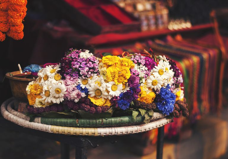 Colourful flowers for offering at pashupatinath temple