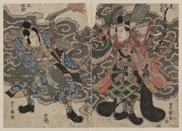 Two samurai warriors, portrayed by actors Bando Mitsugoro and Bando Minosuke (c. 1777-1835)