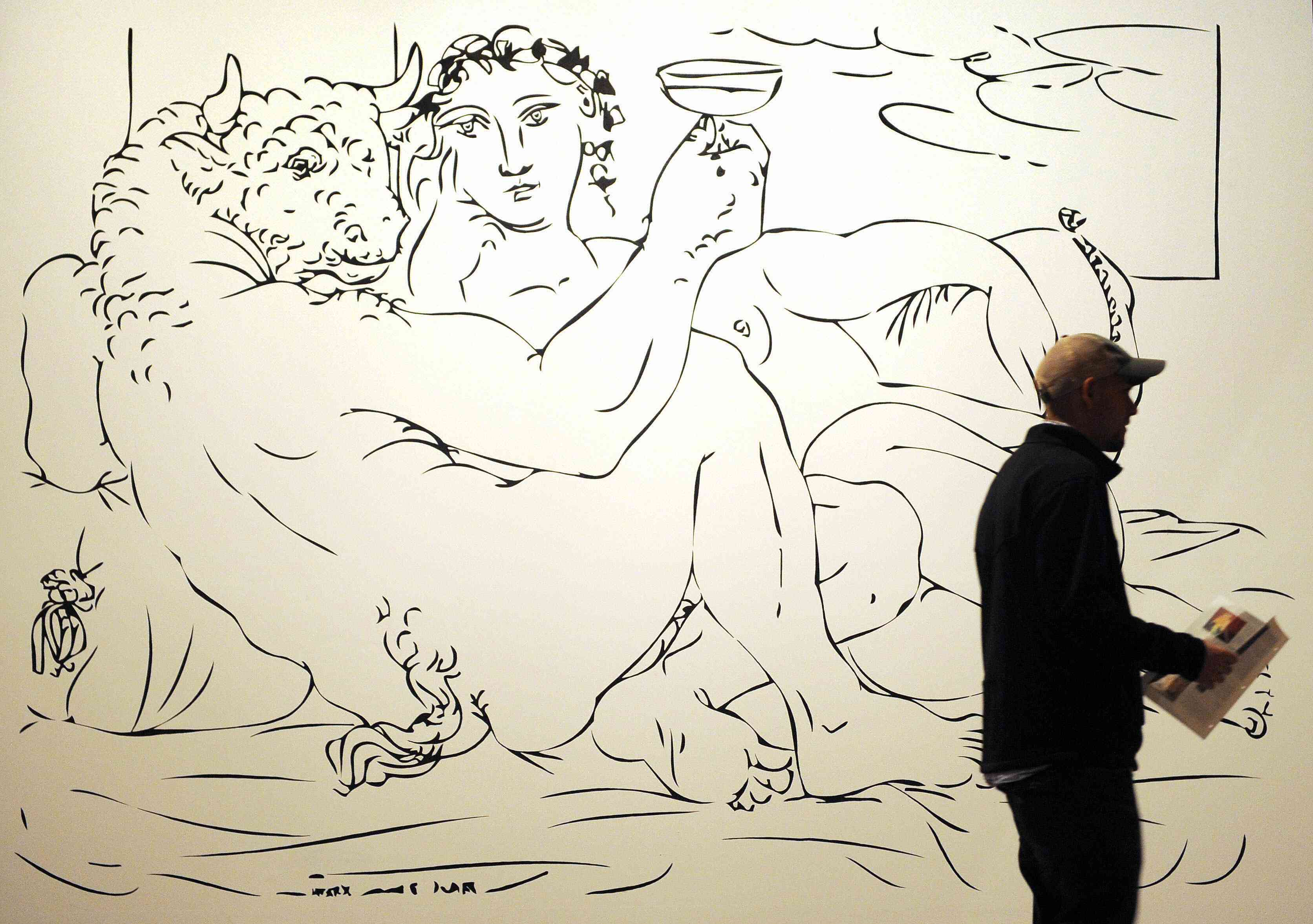 Picasso's Minotaur Drinking with a Girl