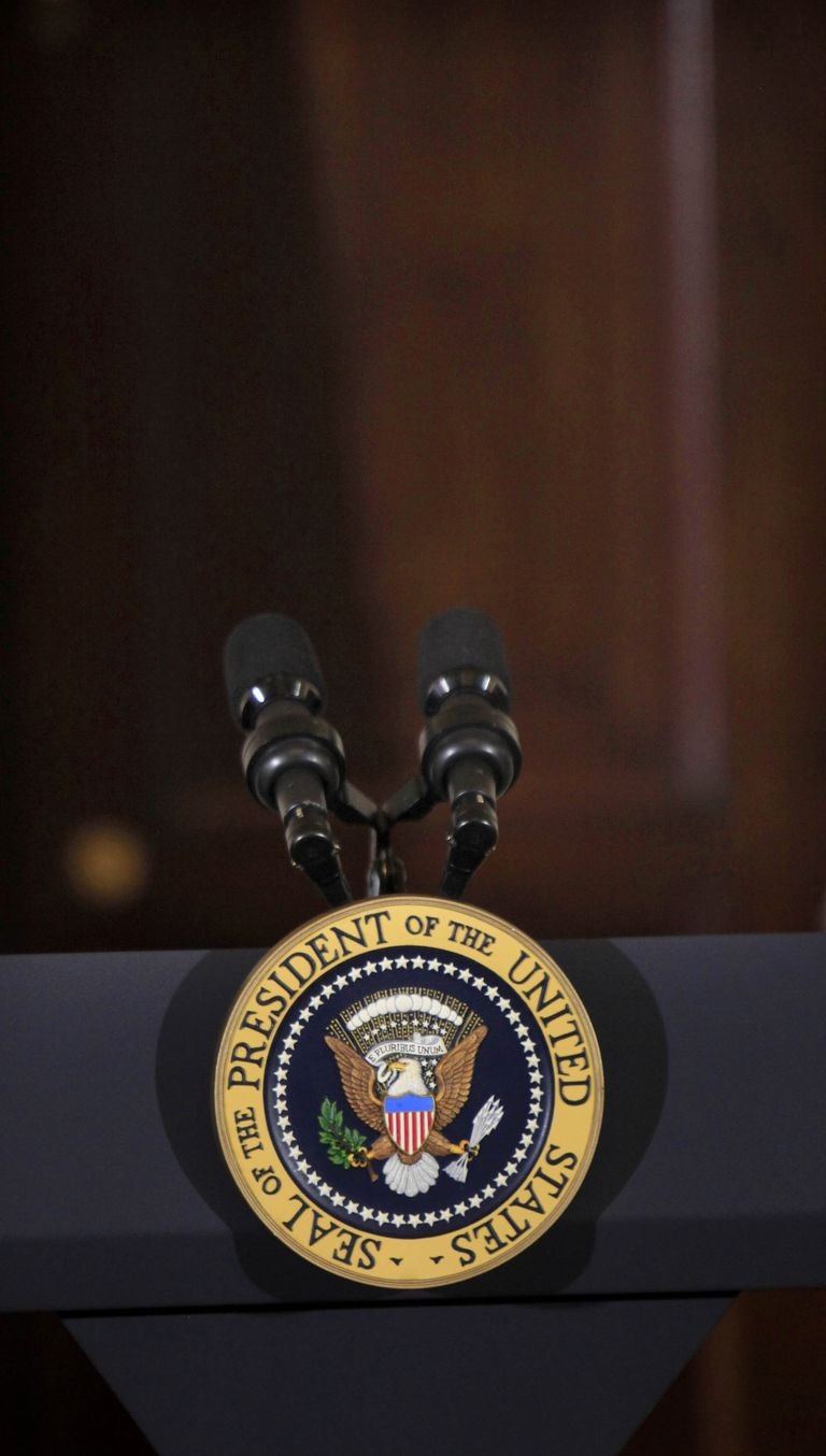 Presidential podium in the Front Foyer, White House, District of Columbia, USA