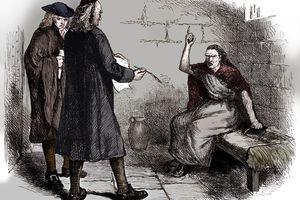 Martha Corey and her prosecutors, Salem, Massachusetts, c1692 (c1880)