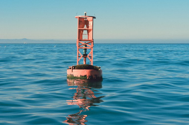 Red buoy on sea against clear sky
