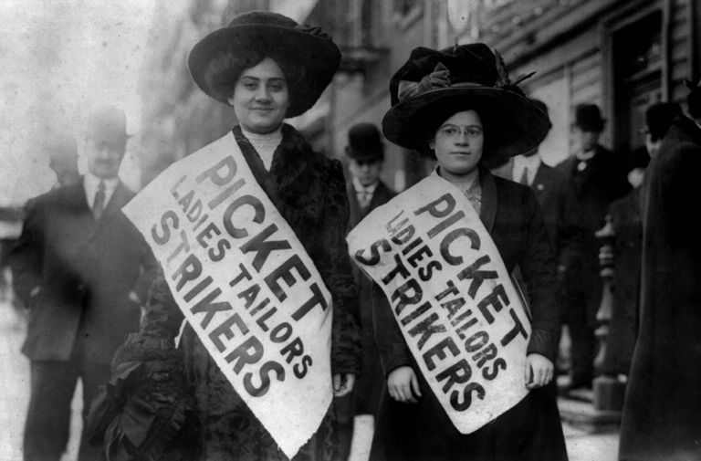 "Women on strike in the 1909 ""Uprising of the 20,000"""