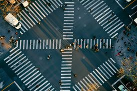 crosswalks in city view from above