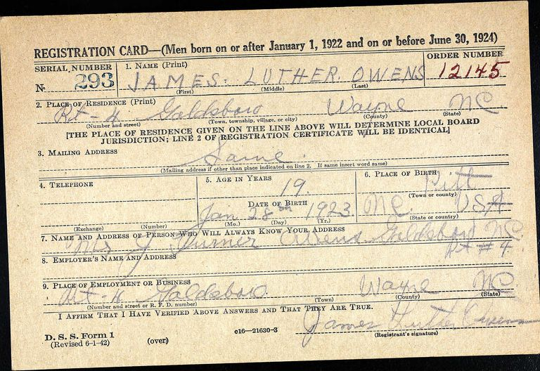 WWII draft registration card for James Luther Owens, Pitt County, North Carolina