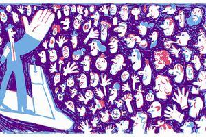 Cartoon of people applauding a politician