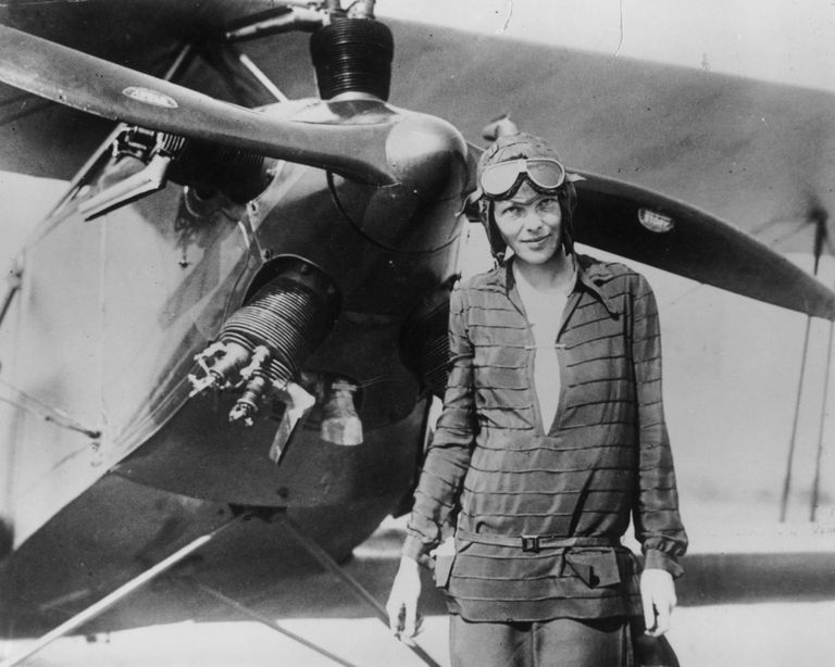 Ameila Earhart With Airplane