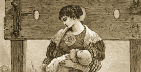 Hester Prynne and Pearl at the stocks, an engraved illustration from an 1878 edition