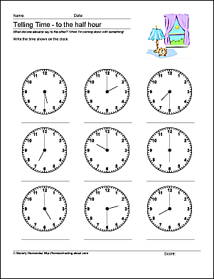 Telling time lesson with worksheets 10 worksheets to help your child tell time by half hour ibookread Download