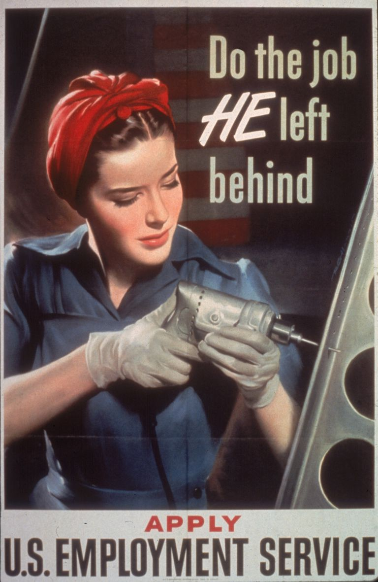1943 World War II Poster - woman with drill