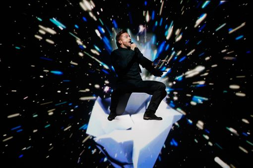 A performance by Russian singer Sergey Lazarev at the 2016 Eurovision contest.