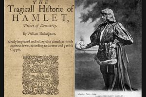 L: Title page of the second quarto of Hamlet, printed 1604. R: Sarah Bernhardt as Hamlet, with Yorick's skull. Photographed by James Lafayette between 1885-1900.