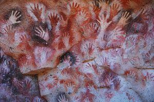 Full frame shot of handprints on the cave wall at Cueva De Las Manos.