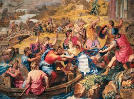 The Rape of Helen of Troy depicted in a 17th century tapestry