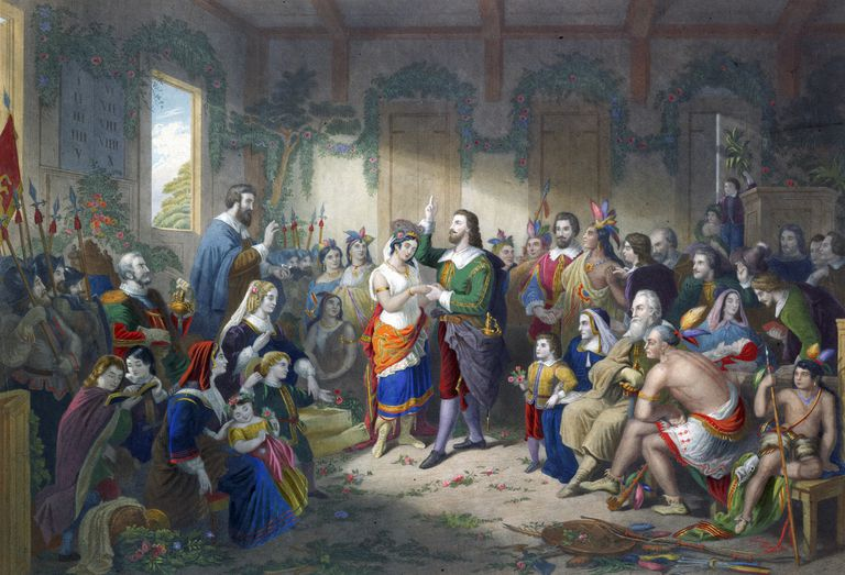 Marriage of John Rolfe and Pocahontas, 1855