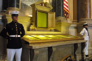 Members of the US military guard the original US Constitution