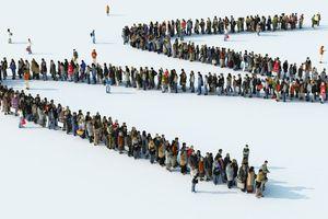 People standing in queue