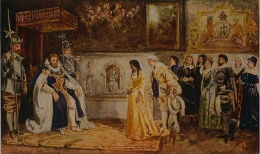 Pocahontas presented to King James on her visit to England