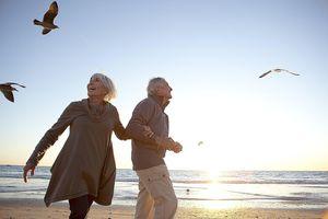 Senior Couple Romantic Beach Lifestyle