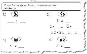 Prime factor tree worksheet 1 of 5 pdf and answers prime factor tree worksheet ibookread