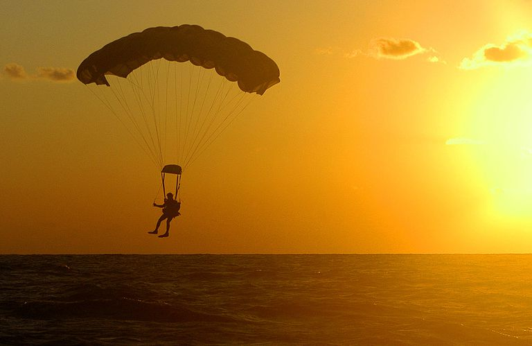 Parachuting at dusk
