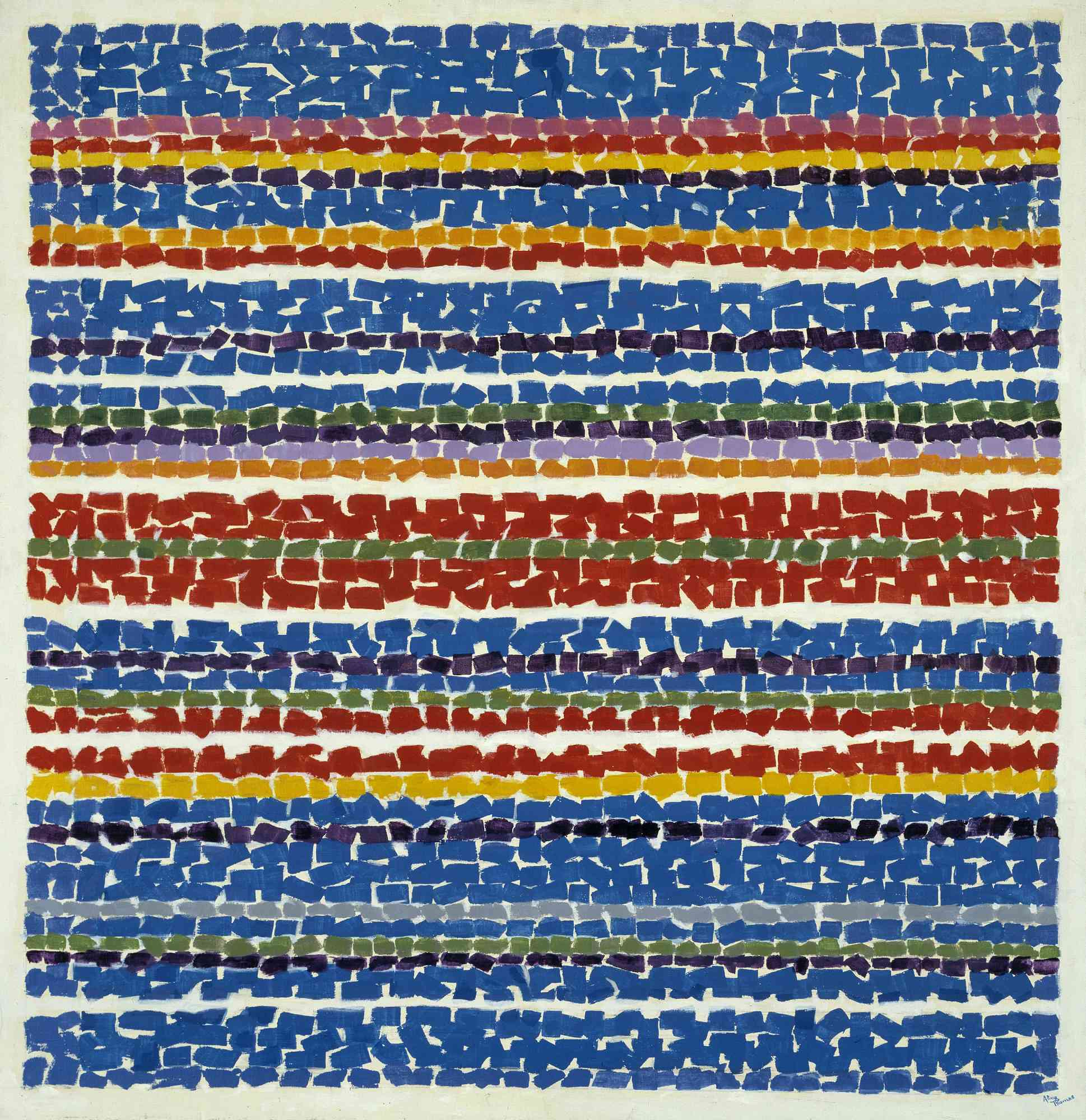Striped canvas in layers of blue, pink, red, orange, and yellow